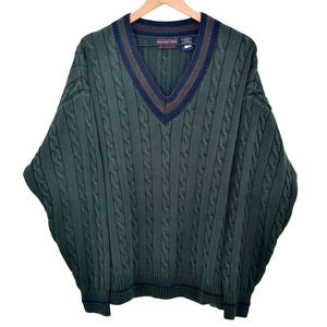 Vintage 90s Chunky Cable Knit Sweater V-Neck Pullover Hunter Green 100% Cotton M
